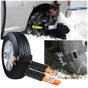 Vehemo Tire Chain Strap Snow Chain 2PCS Rubber Nylon Anti-Skid Wheel Automobile Saloon Car Belt-Fashion3K