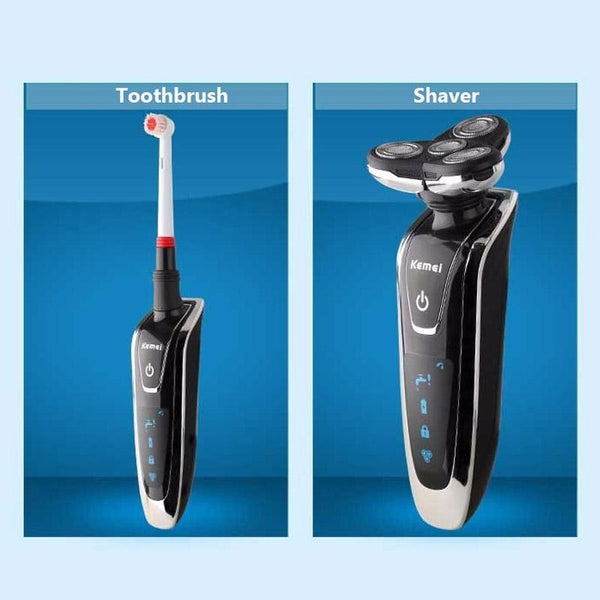 Rechargeable Men's Electric Shaver 4 In 1 Shaving Machine Set Hair Nose Trimmer Toothbrush-Fashion3K