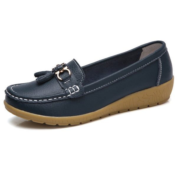 Spring Flats Women Shoes Loafers Genuine Leather Women Flats Slip On Women's Loafers Female Moccasins Shoes Fashion3K