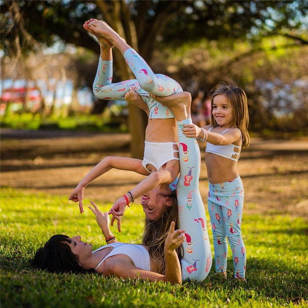 Mother Daughter Matching Leggings Gym Running Sports Pants Yoga Fitness Leggings-Fashion3K