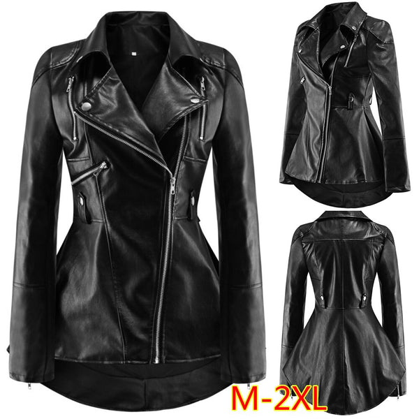 Women's Ruffled PU Leather Long-sleeved Jacket.-Fashion3K