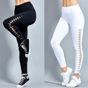 Women High Waist Fitness Lace Up Black White Leggings-Fashion3K