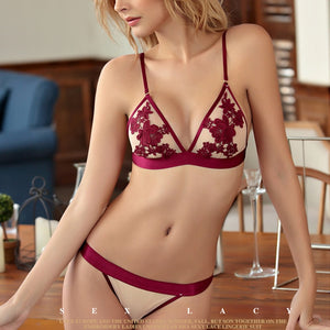 Wire Free Thin Cup Self Colored Bra Set-Fashion3K
