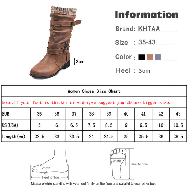Women Winter Buckle Strap Pu Leather Mid Calf Heels Boots Retro Fashion-Fashion3K