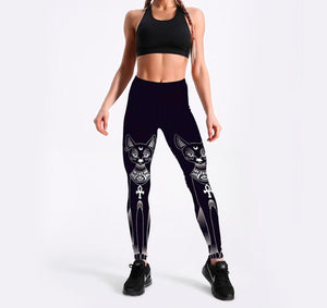 Summer style Hot Leggings For Women's cute Black white cat Digital Printing Elasticity Pants pants Plus size-Fashion3K