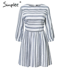 Elegant Women Striped Summer Cotton Dress-Fashion3K