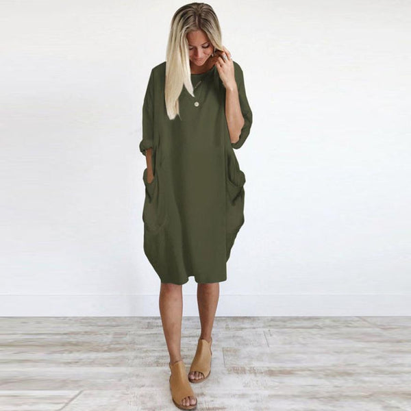 Ladies Casual Loose Crew Neck Dress-Fashion3K