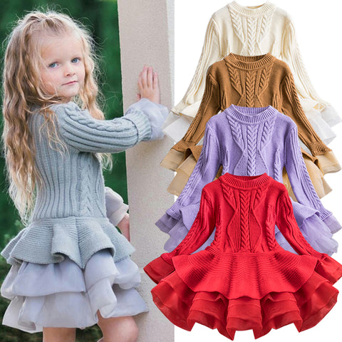 SALE Knitted Chiffon Girls Long Sleeve Dress-Fashion3K