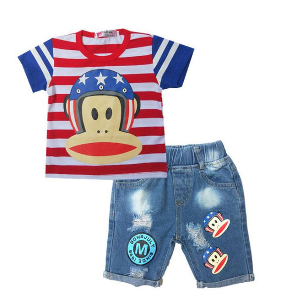 Trendy 2pcs Sets Children Summer Cartoon Striped T Shirt & Denim Shorts-Fashion3K