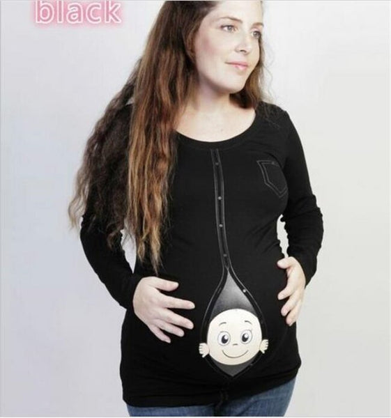 Women maternity t-shirt full sleeve tops pregnancy clothes cartoon casual sweatshirt mother's maternity tops clothes-Fashion3K