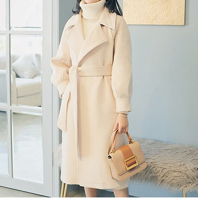 Elegant Plus Size Loose Warm Woolen Long Winter Coat-Fashion3K