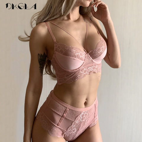 SEXY High Waist Embroidery Bra Lingerie Set-Fashion3K