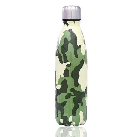 Colorful Camouflage Stainless Steel Thermos Water Bottle 500ml School College Work Travel Fashion3K
