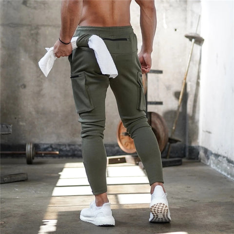 Mens Jogger Sweatpants Gyms Workout Fitness Cotton Trousers Casual Fashion Skinny Track Pants Zipper design Pants-Fashion3K