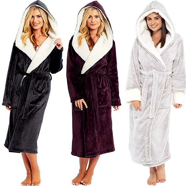 Women Comfy Tick Warm Bathrobe Robe-Fashion3K