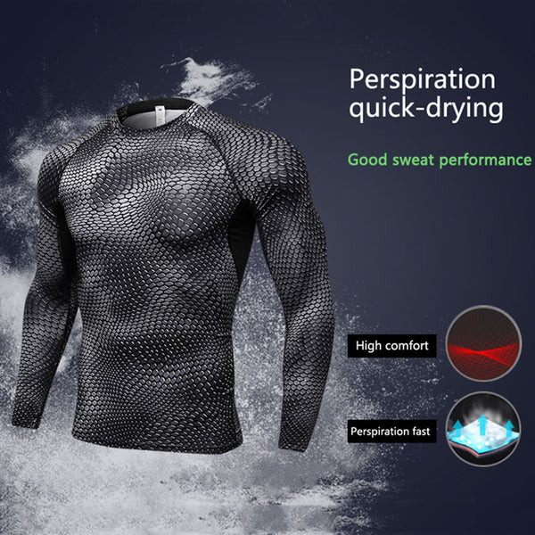Long Sleeve Sport Shirt Men Quick Dry Running Fitness Gym T-shirts Fashion3K