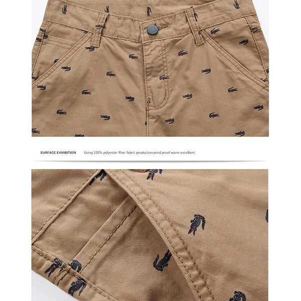 100% Cotton Material Summer Shorts Men Beach Casual Shorts Five-point Slim Print Tide Men's Casual Shorts-Fashion3K