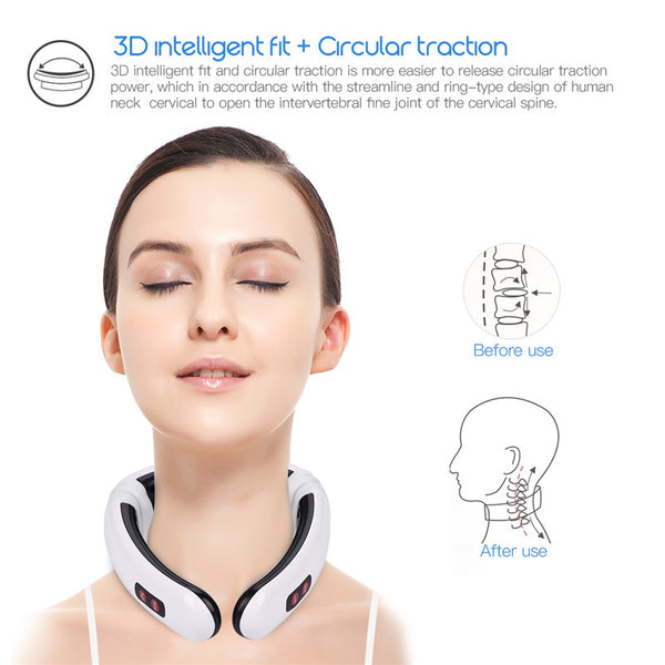 Electric Pulse Neck Massager Cervical Vertebra Impulse Massage Physiotherapeutic Acupuncture Magnetic Therapy Relief Pain Tool-Fashion3K