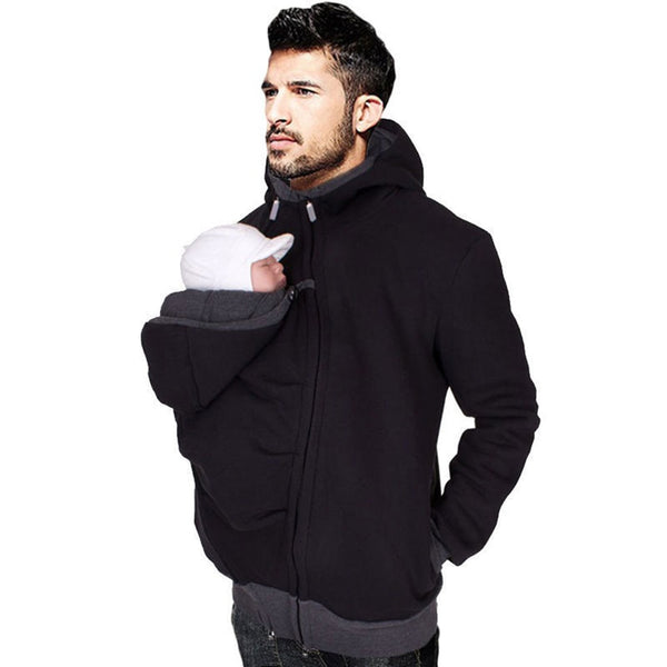 Unisex Baby Carrier Hoodies O-Neck Hooded Outerwear for Dads & Moms-Fashion3K