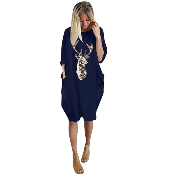 Women Long Sleeve Casual Knee Length Dress.-Fashion3K