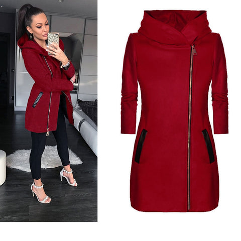 SALE ! Women's Winter High Collar Hooded Long Sleeve Jacket-Fashion3K