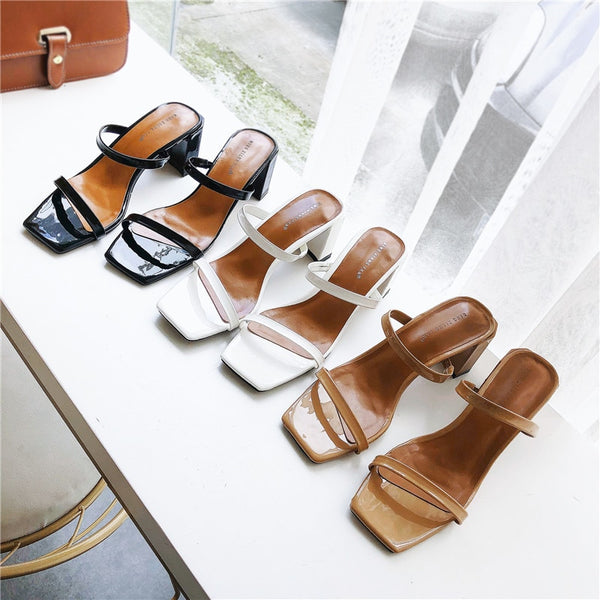 Slip On Square Heel Women Outdoor Trendy Comfortable Sandals Shoes Fashion3K