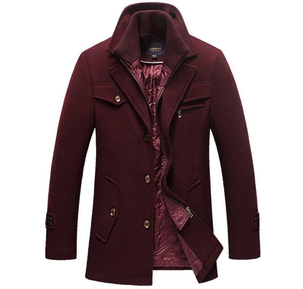 Winter Wool Long Semi Formal Coat Slim Fit Jackets Men Casual Office Outerwear-Fashion3K
