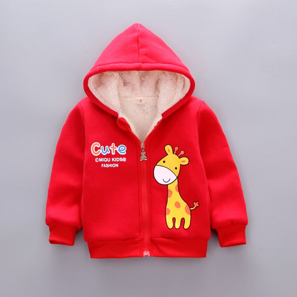 kids boys girls warm jacket hooded jacket plus velvet children's cotton coat autumn winter outwear infantil baby boy Clothing-Fashion3K