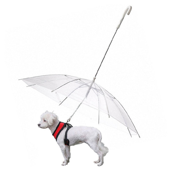 Pet Dog Umbrella Useful Transparent PE Small Dog Cat Umbrella Rain Gear with Dog Leads Keeps Pet Dry Comfortable in Rain Snowing-Fashion3K