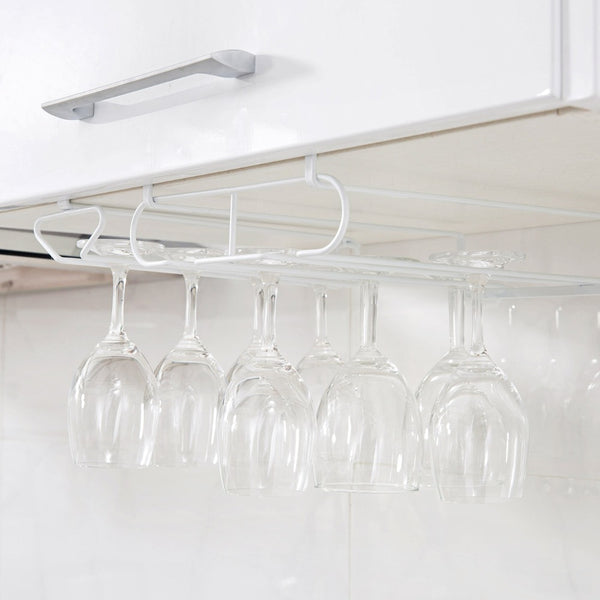 Wine Glass Hanging Metal Rack to Dry Glasses and Goblet Storage Kitchen Organizer-Fashion3K