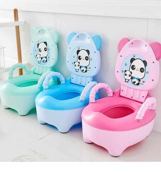Baby Pot Children Training Potty Toilet Seat Kids Cartoon Panda Toilet Trainer Portable Travel Urinal Comfortable Backrest Pots-Fashion3K