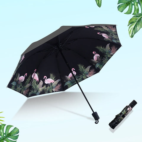 Quality Windproof Large Paraguas 3D Flower Design Print Anti-sun Rain 3 Folding Umbrella 24 Colors-Fashion3K