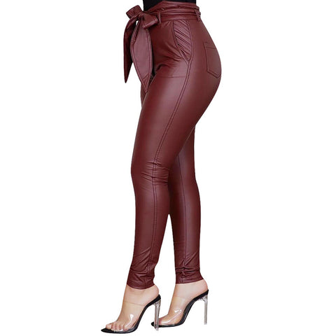 Women Pu Leather Leggings High Waist Bow Sashes Office Ladies Casual Pants Elegant Stretch Slim Pencil Trousers-Fashion3K