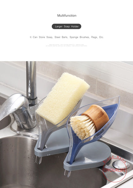 Double Layered Non-slip Bathroom Leaf Shaped Soap Tray-Fashion3K