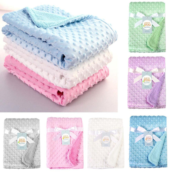 Newborn Baby Blankets Warm Fleece Thermal Soft Stroller Sleep Cover Cartoon Beanie Infant Bedding Swaddle Wrap Kids Bath Towel-Fashion3K