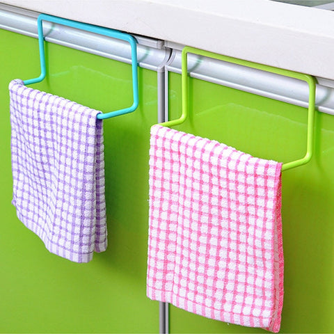Kitchen Organizer Towel Rack Hanging Holder Bathroom Cabinet Cupboard Door Back Hanger Kitchen Supplies Accessories-Fashion3K