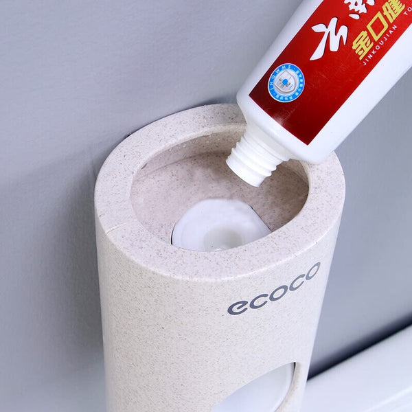 Wall Mounted Automatic Toothpaste Dispenser and Toothbrush Holder-Fashion3K