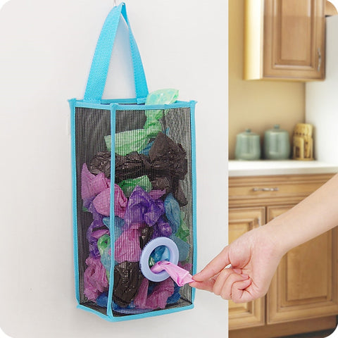 Useful Fashion hanging breathable plastic grid garbage bag socks sundries storage organizers kitchen bathroom storage bag.-Fashion3K