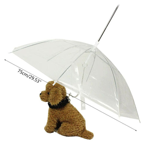 Portable Transparent Walking Small Dog Cat Pet Umbrella With Chain Keep Dry In Rain Outdoor Gear Tool-Fashion3K