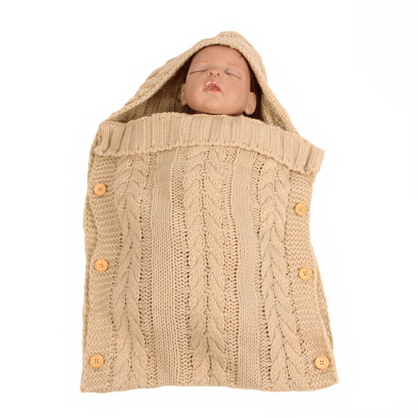 Newborn Infant Baby Blanket Knit Button Crochet Winter Warm Swaddle Wrap Sleeping Bags-Fashion3K