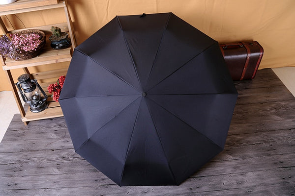 Classic English style Mens Rain Sun Umbrella Protection 10Ribs Strong Wind Resistant 3 Folding Quality Parasol-Fashion3K