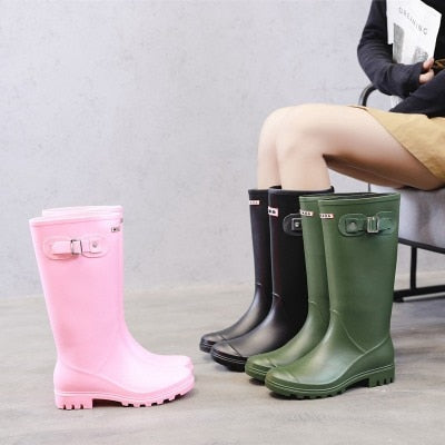 Womens Rain Snow Winter Martin Waterproof Boots High Buckle Long Tube Mid Calf Black Pink Boots-Fashion3K