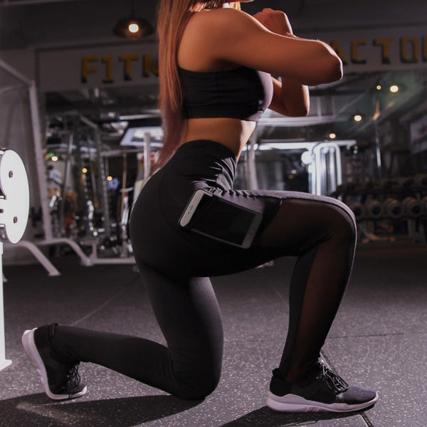 Girls Sexy Pocket High Waist Mesh Leggings - Fitness Activewear Leggings for Women-Fashion3K