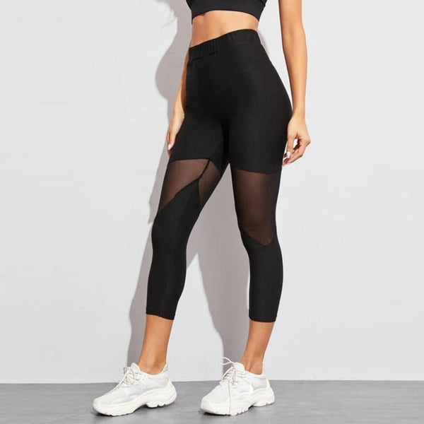 Black Patchwork Mesh Mid Calf Leggings Women's Casual Fitness Athletic Workout Sport Leggings-Fashion3K