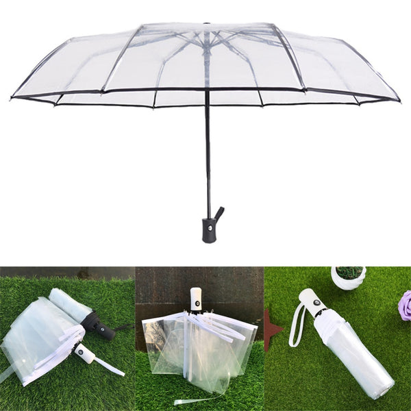 Transparent Paraguas Folding Rain Umbrella for Men & Women-Fashion3K
