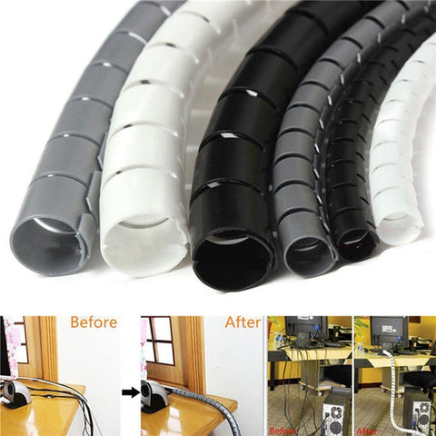Multiple Purpose Spiral Plastic Rolls to Protect Scatter Wires & Organise Neatly in your House Office-Fashion3K