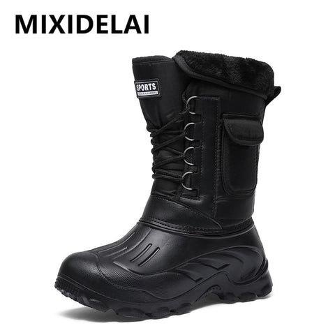 New Winter Black Blue Camouflage Mid Calf Snow Rain Mens Outdoor Waterproof Boots With Fur-Fashion3K
