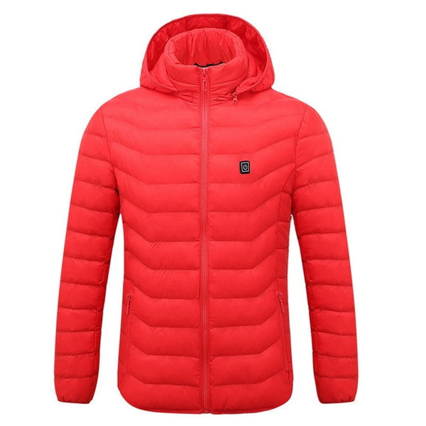Mens Women Heated Outdoor Parka Coat USB Electric Battery Heating Hooded Jackets Warm Winter Thermal Jacket-Fashion3K