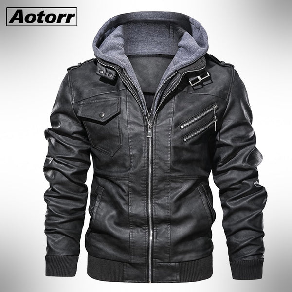 New Autumn Winter Men's Motorcycle Leather Jacket Windbreaker Hooded Jackets Warm Biker PU Jackets-Fashion3K