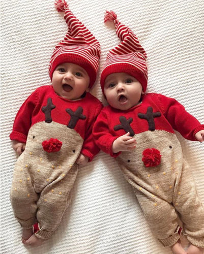 Newborn Infant Christmas Unisex Baby Boys Girls Cotton Xmas Deer Rompers Jumpsuits-Fashion3K